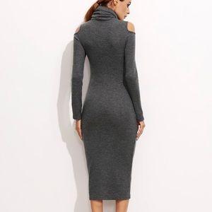 Dresses - Open Shoulder Ribbed Pencil Dress
